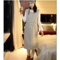 538#韩版孕妇装 针织孕妇裙套装打底衫连帽背心裙两件套