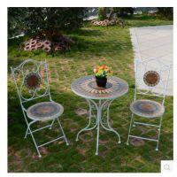 特价阳台花园餐厅室外沙滩马赛克桌椅 折叠拆装圆桌铁艺桌椅