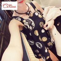 供应Carina蘑菇春装新款韩版图案宽松印花麻纱吊带群内搭打底衫