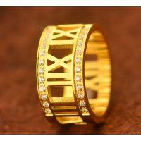 罗马镶钻黄金色戒指男女士情侣款对戒 女生戒指 超闪戒指钛钢