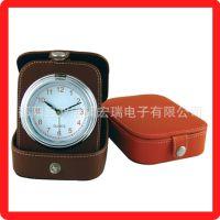 精品供应旅行钟 HR5006迷你钟 PVC皮包旅行闹钟 创意折叠钟表批发