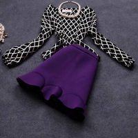 韩国代购秋冬新款欧美格子套裙两件套套装A字裙秋装连衣裙