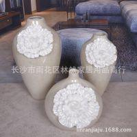 样板房家居装饰花器 现代中式古典时尚陶瓷棕灰色花朵图案花瓶
