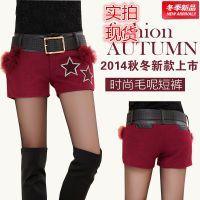 2014新款韩版显瘦拼接PU皮短裤靴裤 秋冬短裤女