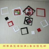 正方形立体墙贴生产厂家简易相片框墙贴木质亮光简易照片墙DIY