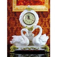 欧式树脂装饰钟表/白+金复古情侣天鹅座钟292 SZZ52W