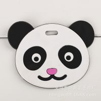 PVC软胶环保行李牌 熊猫舔嘴小人图案挂牌