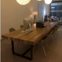 美式乡村北欧咖啡茶餐厅餐桌椅实木复古书桌子 铁艺办公桌会议桌