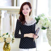 2014秋装新款韩版修身波点上衣长袖T恤网纱蕾丝打底衫