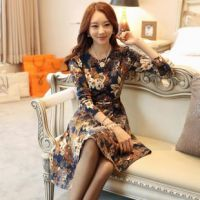 2015新款韩 版圆领高档淑女花色打底裙修身长袖连衣裙
