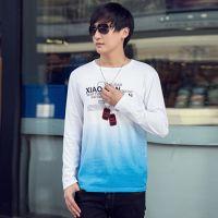 供应2014新款秋装潮男纯棉打底衫印花T恤汗衫x166zF76020