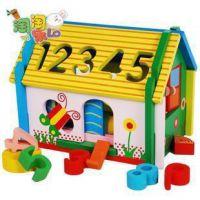 【精品推荐】儿童益智玩具可拆装的数字形状配对小木屋早教玩具