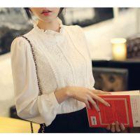 2014秋装新款女装韩版蕾丝拼接雪纺衫长袖小立领蕾丝打底衫