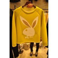 韩版秋装短款打底衫太空棉T恤女长袖宽松兔子图案秋衣上衣潮1777