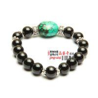饰品天然黑玛瑙配绿松石藏银转运珠复古型佛珠手链东海水晶批发