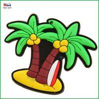 定做滴胶工艺海滩冲浪礼品 软胶PVC磁贴 3D卡通椰子树形状冰箱贴