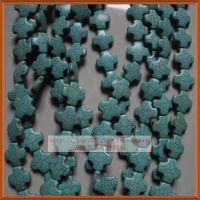 DIY串珠配件 散珠材料 天然绿松石散珠 十字形 十字架 绿松石批发