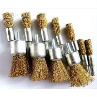 供应镀铜钢丝笔刷 钢丝轮 钢丝碗刷 钢丝刷 电磨笔刷