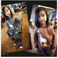 2014冬新款 韩版 女童 长颈鹿拉绒加厚卫衣
