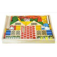 小牧场积木欢乐动物农庄模型儿童过家家快乐农场DIY木质玩具YX067