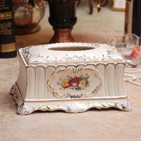 厂家直销 陶瓷纸巾盒抽纸盒 茶几摆件家居装饰批发