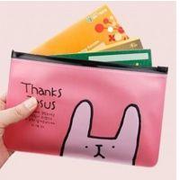 C375新款韩国文具多用途小兔透明杂物收纳袋 文具袋 拉边袋 笔袋