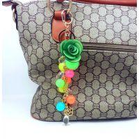 创意手工透明水晶圆球钥匙扣糖果包挂亚克力实心汽车钥匙挂饰赠品