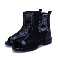 品牌童鞋2014夏新款韩版女童凉鞋后跟拉链鱼嘴凉鞋中大童网纱鞋