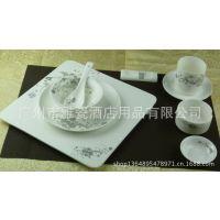 高级餐厅五星级陶瓷餐具批发 酒店骨质瓷摆台套装碗 盘子勺子