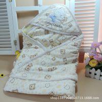 仿丝棉婴儿抱被 春秋薄棉宝宝抱毯 天鹅绒新生儿包被 睡袋