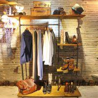 美式精品复古铁艺实木做旧服装架 落地衣帽架 厂家直销货架