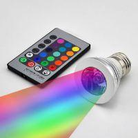 瓣瓣家居供应 16色变换射灯 E27 3W遥控灯  七彩LED灯泡