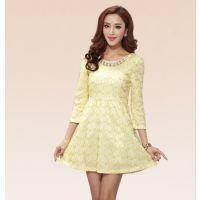 实拍2014秋冬新款金线蕾丝修身韩版打底连衣裙气质优雅连衣裙