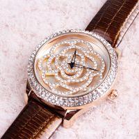2013新款 旋转玫瑰花甜美时尚表  镶钻灵动腕真皮时装表