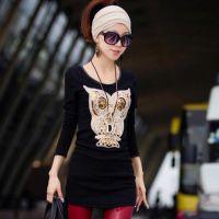 2014新款 立体猫头鹰图案 黑色显瘦中长款打底衫4个色T恤