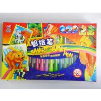 小魔坊智绘笔26色功能三合一水彩、蜡笔、水溶油画棒儿童绘画棒