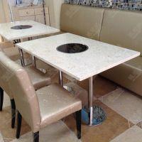 订做人造石火锅桌椅 电磁炉电陶炉火锅餐桌 餐厅火锅店桌子