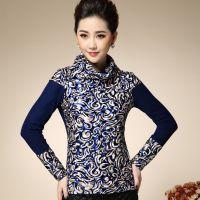 2014秋冬新品加绒加厚大码气质小衫青花瓷保暖长袖打底衫