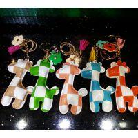 批发韩国皮革卡通可爱长颈鹿钥匙扣 包包挂件 车挂件 创意钥匙链