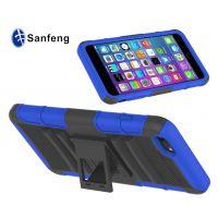 厂家促销 iphone6 plus硅胶防摔三合一手机套 条纹支架手机壳