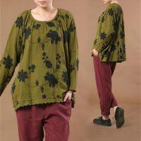 2014春装新品原单例外风格文艺蕾丝刺绣花朵棉麻宽松大码衬衫上衣
