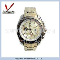 速卖通热销高档男士手表 单日历高档男士手表 夜光钢带手男士手表