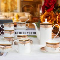 [萱雅]批发直供景德镇高档15头骨瓷咖啡具 欧式茶具 咖啡杯碟套装