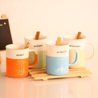 ZAKKA巴黎森林仿搪瓷杯 创意水杯陶瓷杯带勺 4色混