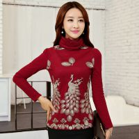 2014秋冬新款韩版女装 加绒加厚保暖长袖高领网纱蕾丝打底衫女