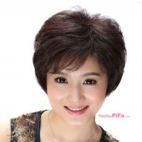 中老年假发 黑色+棕色 微卷 30cm短发(NWG0LD61072-BB2)