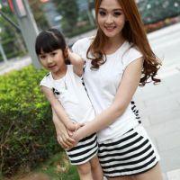 2014新款亲子装夏季韩版潮母女装春装黑白条纹T恤+裤裙X4222