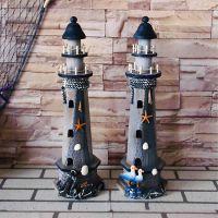 复古木制手工做旧灯塔摆件  海洋摆件品工艺品  拍摄小道具