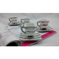 欧式奢华土豪金 陶瓷咖啡杯碟 如意杯镀金边 酒店餐厅家居用品