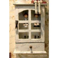批发供应旧白色实木玻璃门zakka田园风格储物柜子